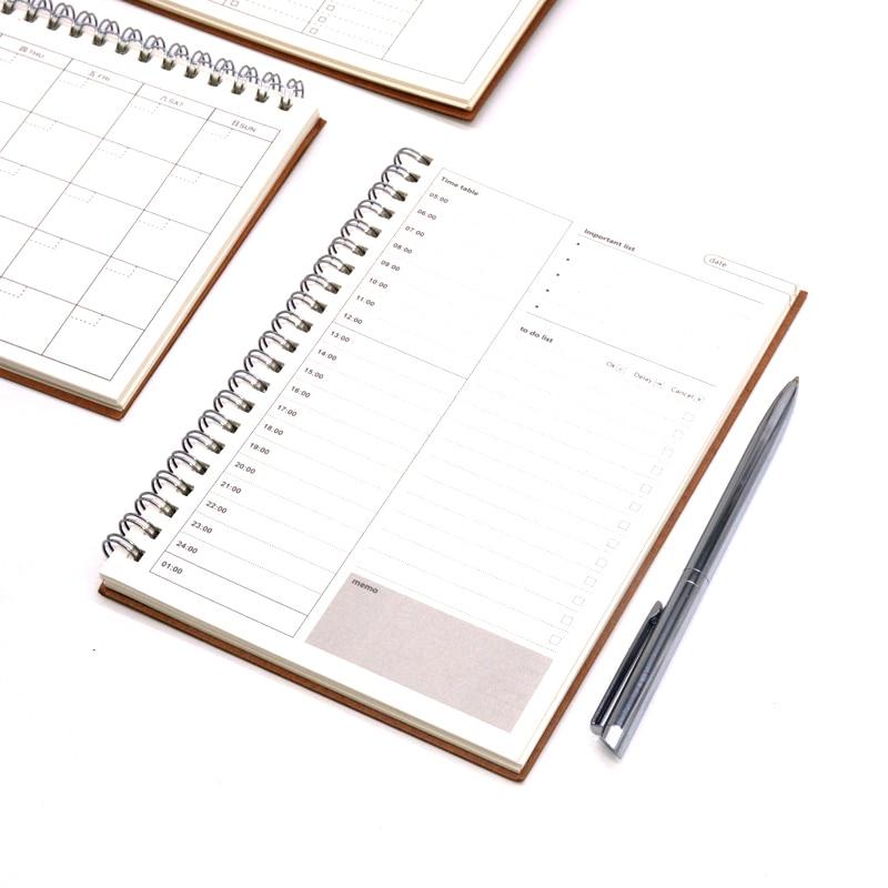 Дневник еженедельник, записная книжка Caderno Agenda 2020 2019 Libretas, записная книжка из крафт-бумаги, записная книжка Filofax a5 Spiral