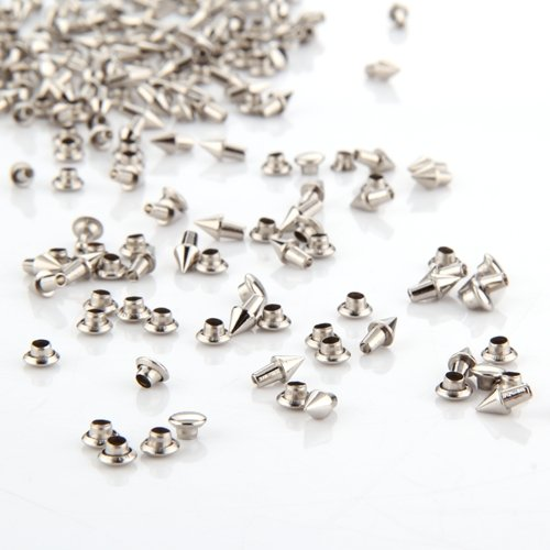 100 Silver Tone Metal Cone Spike Studs Rivets 4x5mm for Handbag shoes accessories