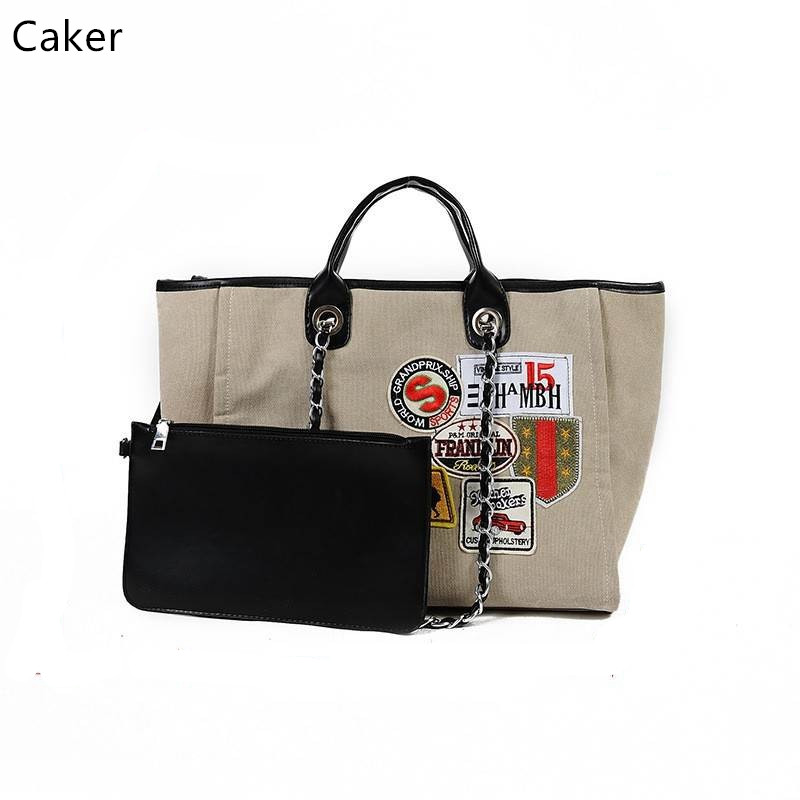 Caker Women Large Canvas Letter Handbags Ladies Chain Shoulder Bags Oversize Badge Casual Totes High Quality Fashion Jumbo Bag