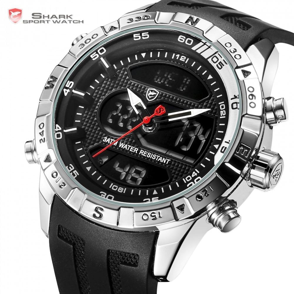Reloj deportivo Hooktooth SHARK para hombre con doble movimiento, cronógrafo con alarma LCD, reloj masculino resistente al agua hasta 3ATM, cronómetro negro/SH596