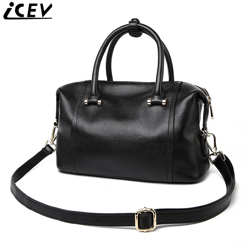 ICEV High Quality Women Leather Handbag Cowhide Bags Handbags Women Famous Brands Lady's Bag Made of Genuine Leather Simple Bags icev new brands simple classic female cow leather designer handbags high quality genuine leather handbags women leather handbags