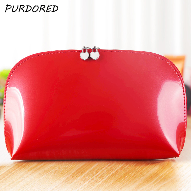 PURDORED 1 pc Women Shell Cosmetic Bag Patent Leather Zipper Make Up Bags Female Travel Cosmetic Case kosmetyczka DropshippingPURDORED 1 pc Women Shell Cosmetic Bag Patent Leather Zipper Make Up Bags Female Travel Cosmetic Case kosmetyczka Dropshipping