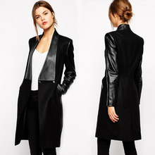 New European Fashion Motorcycle leather jackets autumn black leather jacket women long leather coat women leather trench XQ770