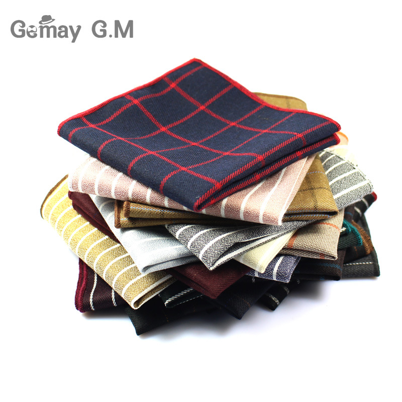 High Quality Hankerchief Scarves Plaid Business Suit Hankies 100% Cotton Casual Men's Pocket Square Handkerchiefs 25*25cm