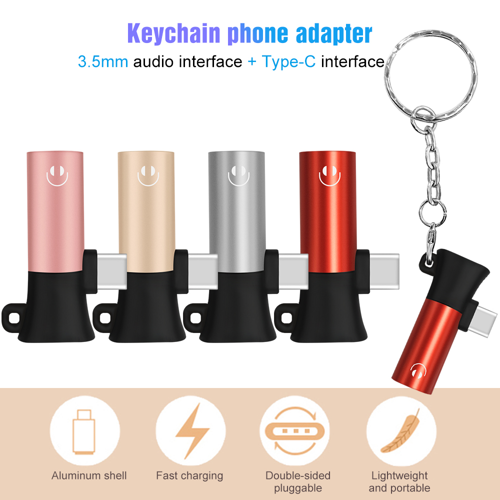 New 2 In 1 Type C To 3.5mm Audio Charging Adapter Connector Keychain Style Earphone Adapter Converter Support Calling Charger