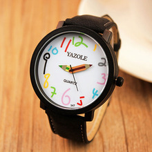 2017 watch Korean version of the big dial female students watch couple quartz wristwatches reloje mujer pen design Needle Clock