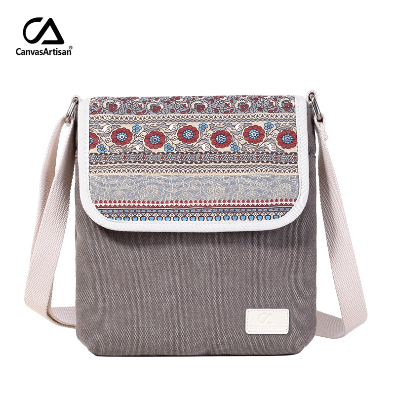 Canvasartisan brand new women shoulder bag canvas reteo messenger bag floral printing style female daily travel crossbody bags