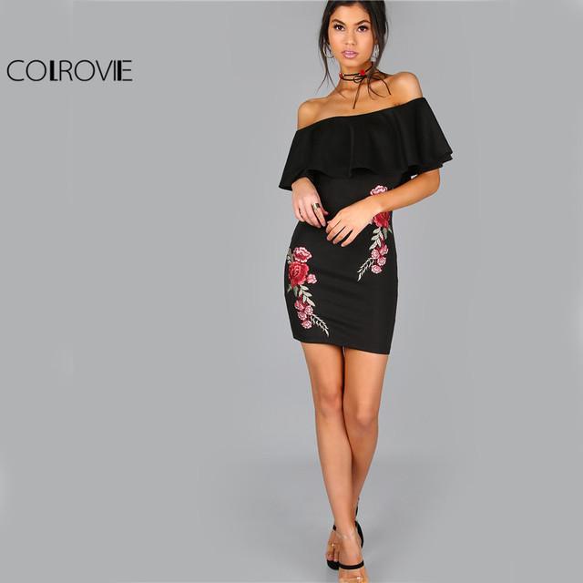COLROVIE Dress Women Black Sexy Off Shoulder Embroidery Party Dresses 2017 Rose Applique Ruffle Elegant Bodycon Mini Dress