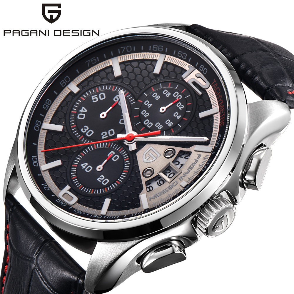 PAGANI DESIGN Luxury Outdoor Army Wrist Watches Stops Date Analog Men Genuine Leather Pin Buckle Chronograph Quartz Relogio 2017 pagani design chronograph watch men cool stainless steel genuine leather strap fashion army quartz date men watches luxury brand