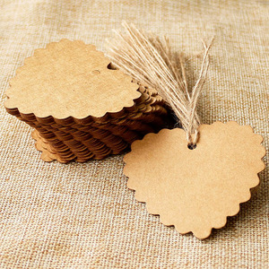 500pcs Kraft Paper Tags Blank Heart Shape Gift Tags Label Party Favor Deco DIY Paper Cards Hang Tag Hemp String Included 6.5x6cm