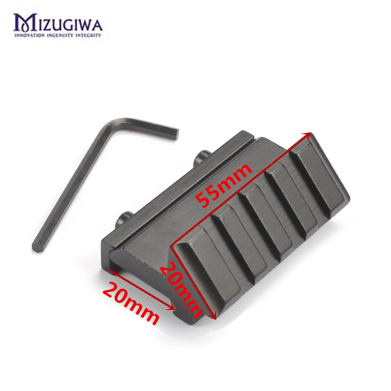 Mizugiwa One Side 45 Degree Angle Offset Rail 20mm Scope Mount Weaver Picatinny Rail Hunting Accessories