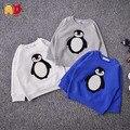 AD Тепловая Руно Детские Мальчики Девочки Толстовки Утолщение Пингвин Мальчики Основные Топы Зима Осень Детская Одежда Верхняя Одежда