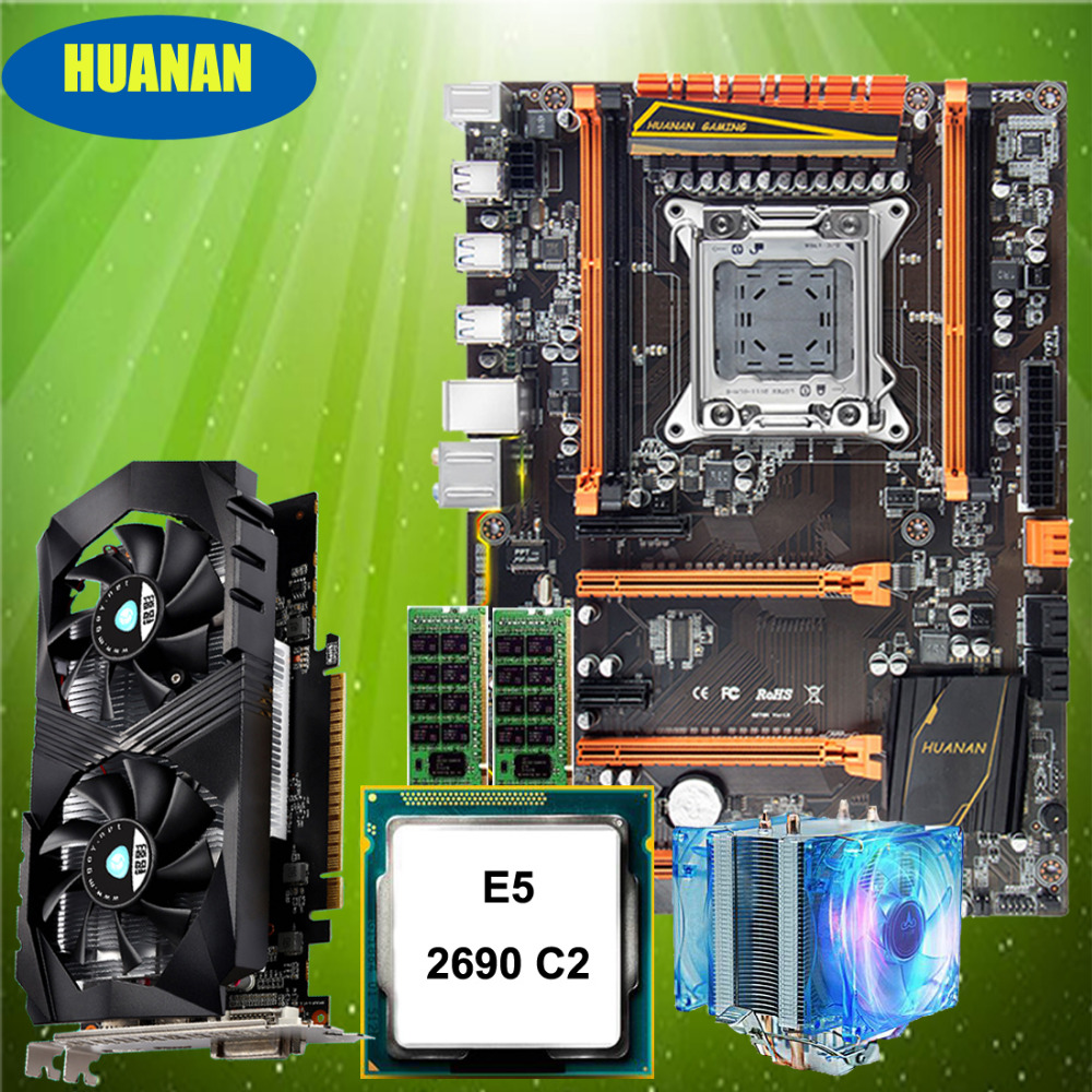華南志デラックス X79 マザーボード M.2 NVMe スロット CPU Xeon E5 2690 C2 クーラー RAM 16 グラム (2*8 グラム) RECC GTX1050Ti 4 グラムビデオカード  グループ上の パソコン & オフィス からの マザーボード の中 2