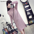 2016 new hot sale women's long style turtleneck knit sweaters dresses woman twist thick knit pullovers sweater 4 colors