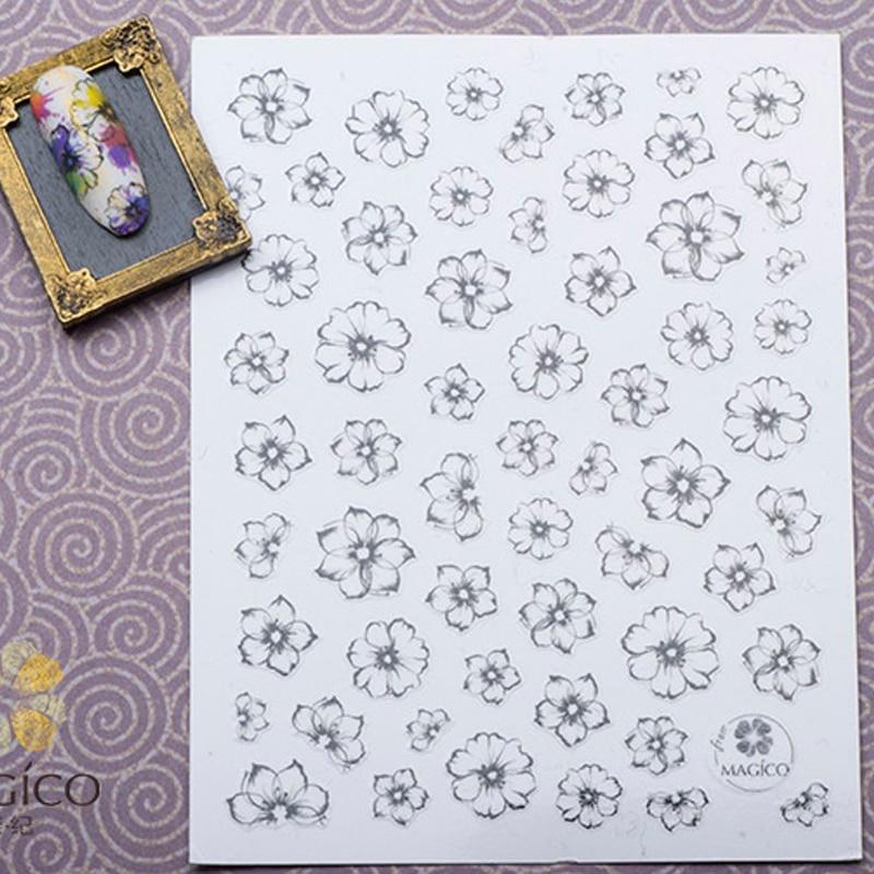 1 ark Akvarel 3D Nail Art Stickers Fading Flower Nail Sticker - Negle kunst - Foto 5