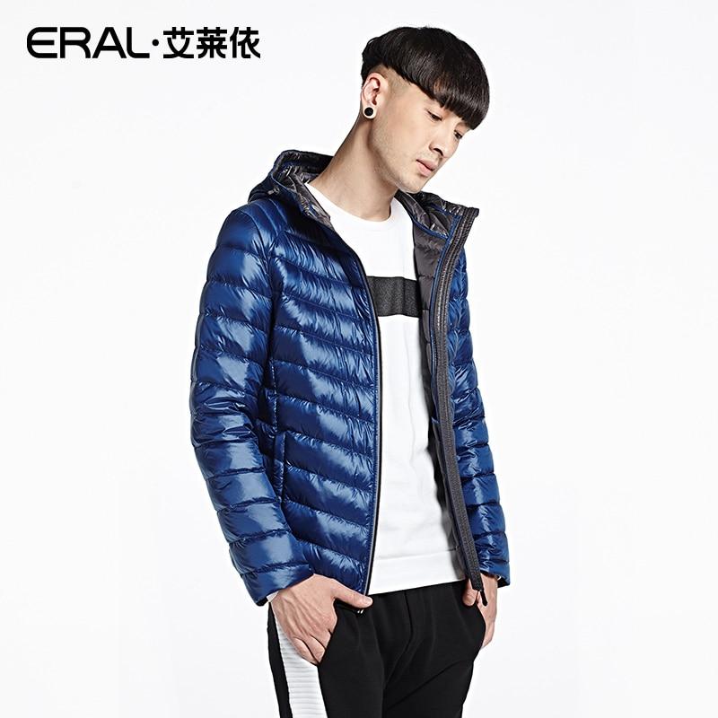 ERAL Mens Winter 2016 Solid Slim Hooded Down Coat Casual Light Short Down Jacket ERAL19011-EDAA
