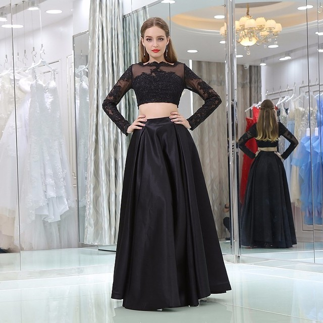 Black Color Prom Dress Y Two Piece Long Sleeves Lace Evening Party Gown Plus Size Custom