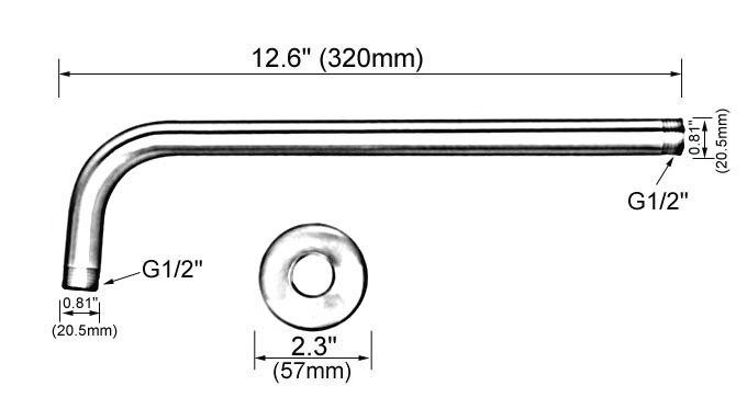 Черный масло натертый латунь душ насадка удлинитель труба - 12% 22 длинная стенка крышка - душ рука ванная аксессуары +% 28Стандарт 1% 2F2% 22% 29 msh101