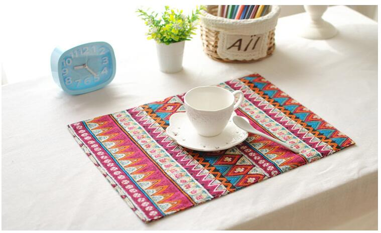 40x30cm Linen Cotton Mat Europe Style Placemat Dining Table Mat Cup Coaster Heat Insulation Pad Protector Table Decoration Pads