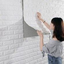 3D Brick Wall Stickers Home Decor Living Room Waterproof Foam Room Bedroom DIY Adhesive Wallpaper Art 70*77*0.6cm Wall Decals