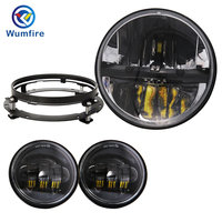 Motorcycle Headlight 7 Inch Led Headlight + 4.5 4 1/2 inch Passing Lights For Harley Electra / Street Glide Road King