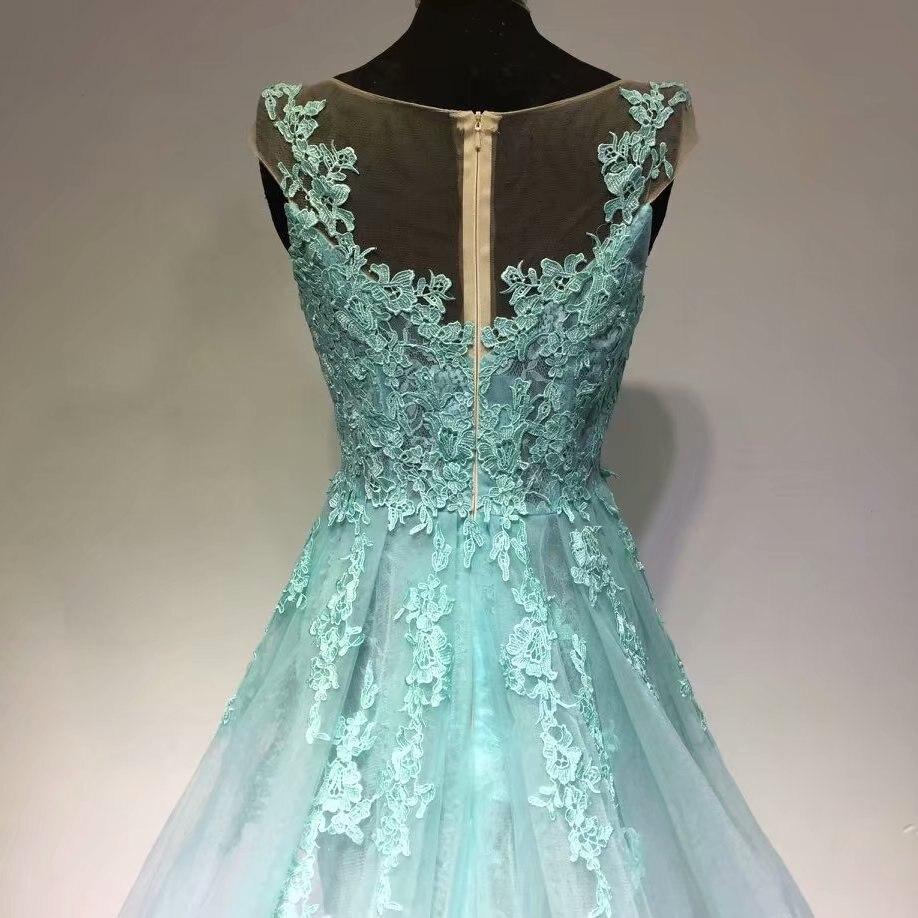 Hote sale O Neck cap sleeve Applique Watteau train Organza Light green Evening Dresses - 2