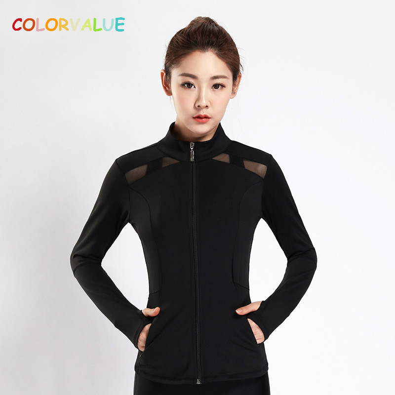 Colorvalue Patchwork Mesh Dance Fitness Jacket Women Full Zipper Running Coat Quick Dry Slim Gym Sport Jersey with Zipper Pocket umbro womens gym jacket zipper cardigan sport sweater baseball coat jacket stitching training zipper jacket fitness ucb63742