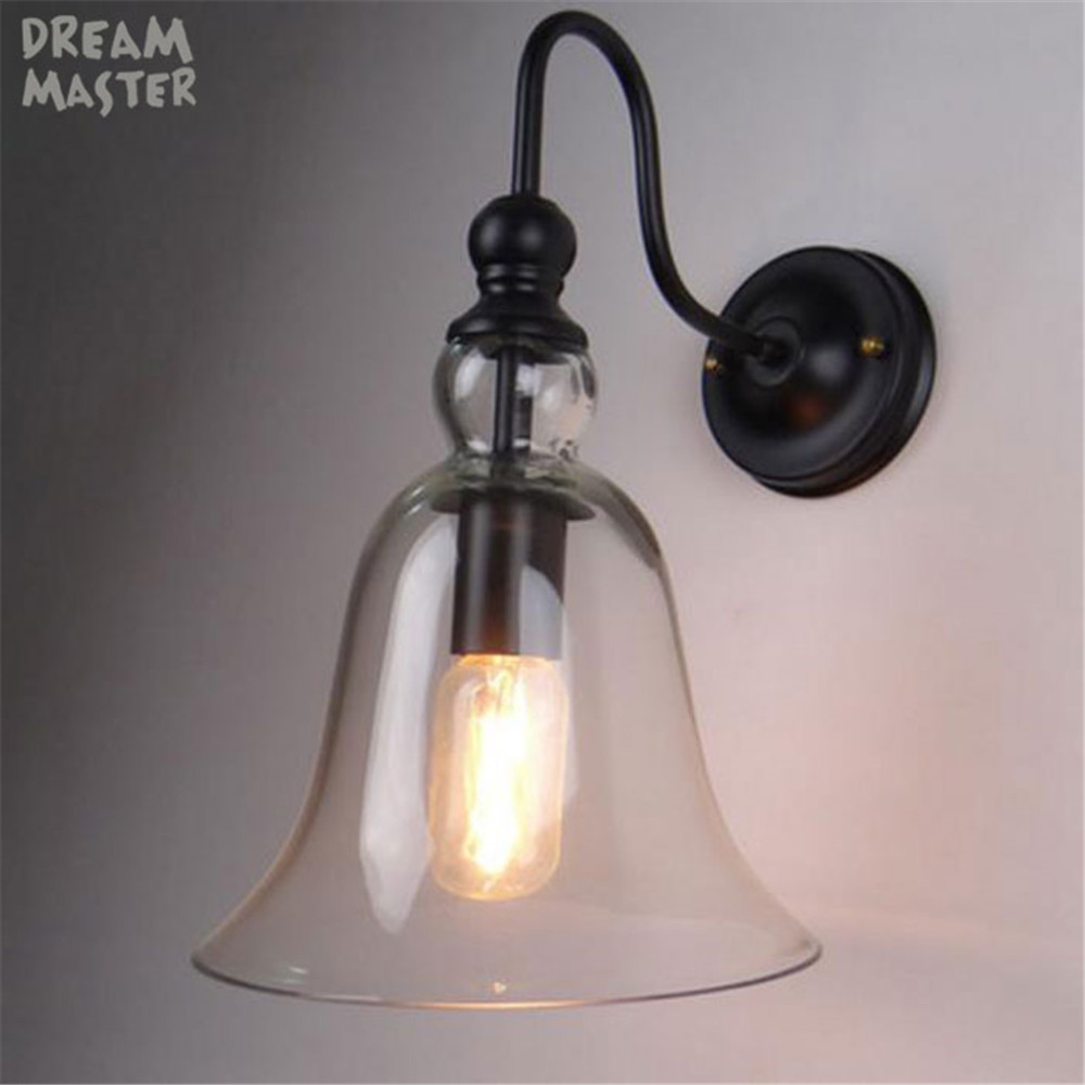 European Vintage wall light iron clear glass bell lampshade wall lamps E27 110V 220V for home decoration lampadas de led casa
