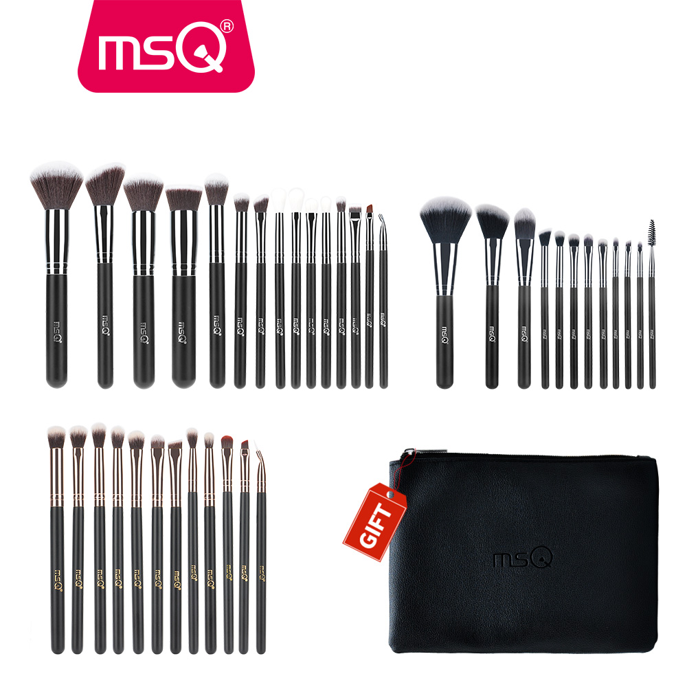 Buy 3 Get 1 Gift MSQ 3Sets Foundation Powder Eyeshadow Makeup Brush Set Concealer Powder Make Up Brushes With A Empty Case Gift lke makeup tools buy 3 handsel 1 gift 21color eyeshadow palette & makeup brush set & eyebrow eye & eyeliner stencil gift