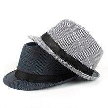 Moda mujer hombres algodón Plaid Fedora sombrero para papá Gentleman otoño  Homburg sombrero del Jazz tamaño 58 cm 3cf64ef30311