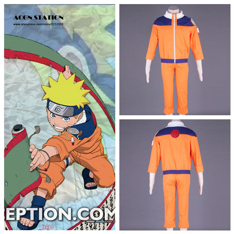 2018 Free Shipping Adult Kid Cosplay Anime Costume Hot Anime Naruto Cosplay Costume Naruto Uzumaki Cosplay