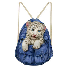 ThiKin Women Drawstring Bag 3D Cat Printed Bags Storage Cloth Polyester Bag Boys Girls Daily Casual Bag Book Bunch Pocket