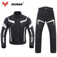 DUHAN Men Motorcycle Jacket Professional Motocross Pants Spring Summer Breathable Mesh 5pcs Jackets Protector 2pc Pants Kneepad
