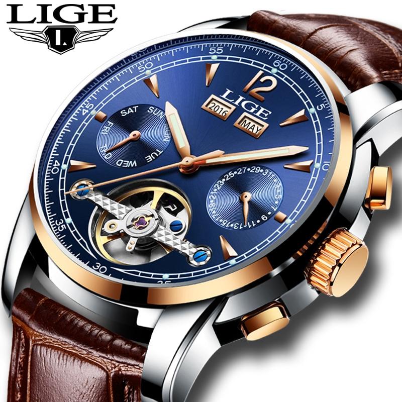 Mens Watches Top Brand Luxruy LIGE Automatic Watch Men Waterproof Sport Clock Man Leather Business Wrist watch Relogio Masculino
