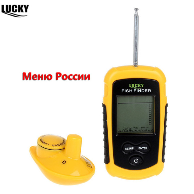 LUCKY Wireless Fish Finder Echo Sounder Water Resistant 40M/130FT Depth Sonar Sounder Alarm Fishfinder FFW1108 1 English/Russian