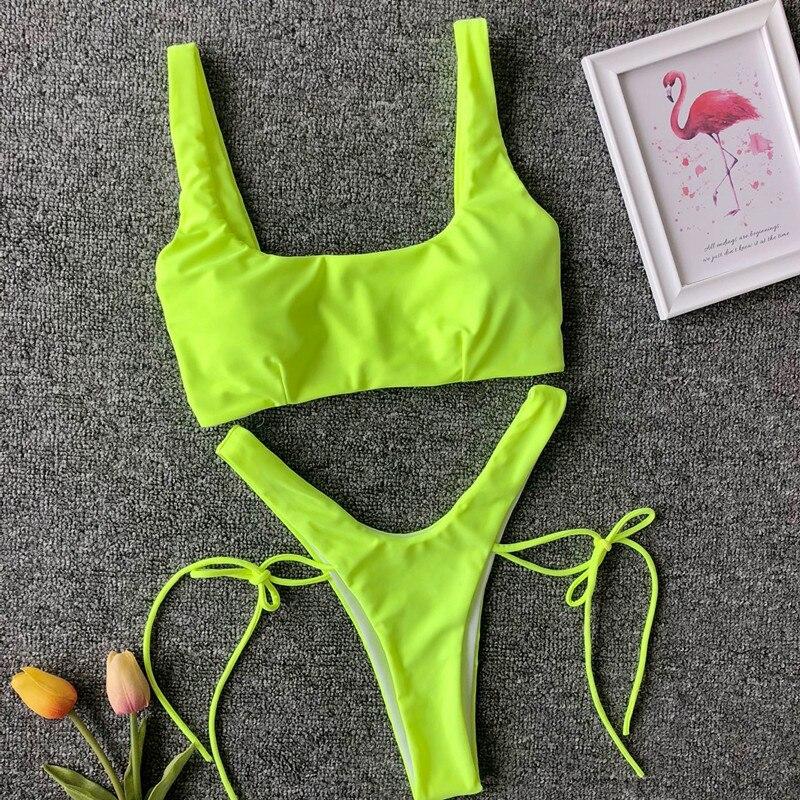 5126c332e15c Nuevo Bikini de corte de pierna alta verde neón mujer Tanga traje de baño  2019 mujeres brasileño ...