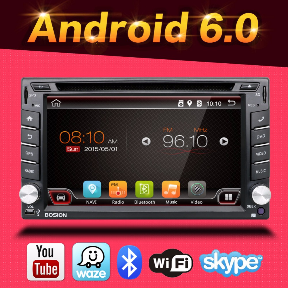 100 Android 6 0 Car Audio GPS Navigation 2DIN Car Stereo Radio Car GPS Bluetooth USB