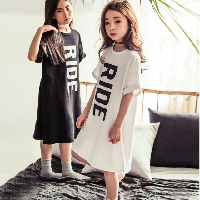5a69876b3 Little girl's summer long dress, t shirt dress, cool and stylish,  comfortable and soft cotton, for girls from 2 to 16 years old