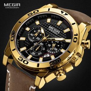 MEGIR Men's Leather Strap Quartz Watches Waterproof Luminous Army Sports Chronograph Wristwatch Man Relogios Clock 2094 Gold