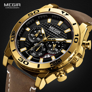 MEGIR Men's Leather Strap Quartz Watches Waterproof Luminous Army Sports Chronograph Wristwatch Man Relogios Clock 2094 Gold baogela men s leisure quartz watches fashion clock leather strap analogue wristwatch relogios masculino 3atm waterproof bl1808