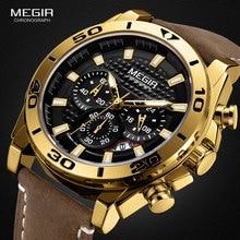 MEGIR Мужские кварцевые часы с кожаным ремешком, водонепроницаемые светящиеся армейские спортивные наручные часы с хронографом, мужские часы 2094 золотого цвета