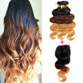Halo Lady Hair Brazilian Virgin Hair Body Wave 2 or 3 or 4 Bundles Ombre Hair With Lace Closure 1b/4/27 3 Tone Ombre Human Hair