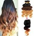 Halo Lady cabelo brasileiro virgem do cabelo da onda do corpo 2 ou 3 ou 4 pacotes Ombre cabelo com laço encerramento 1b / 4 / 27 3 tom Ombre cabelo humano