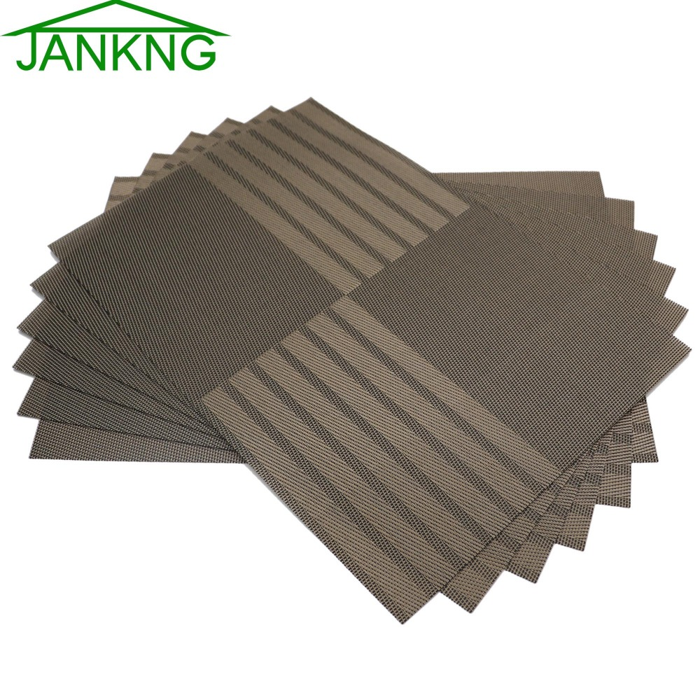 jankng reversible heat insulation place mats set woven vinyl placemats for kitchen dining - Vinyl Placemats