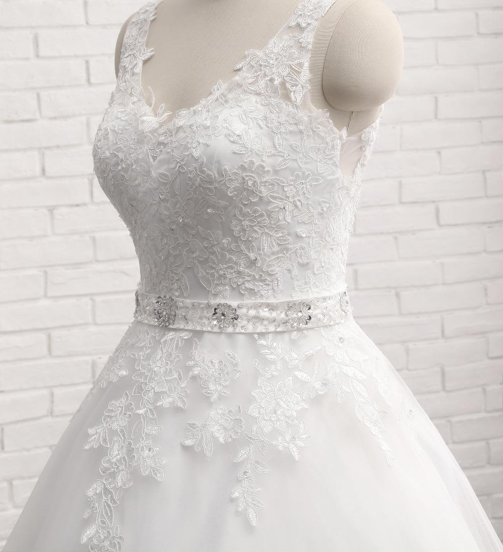 Lover Kiss Vestido De Noiva New Design A Line Lace Wedding Dress V Neck Beaded Sash Backless Sexy Vintage Gowns Wedding Dress 5