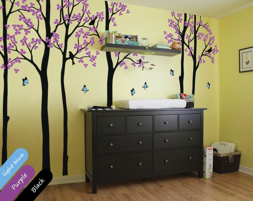 multi color unisex trees with butterflies wall decals for nursery decoration diy removable wallpaper size - Nursery Decorations