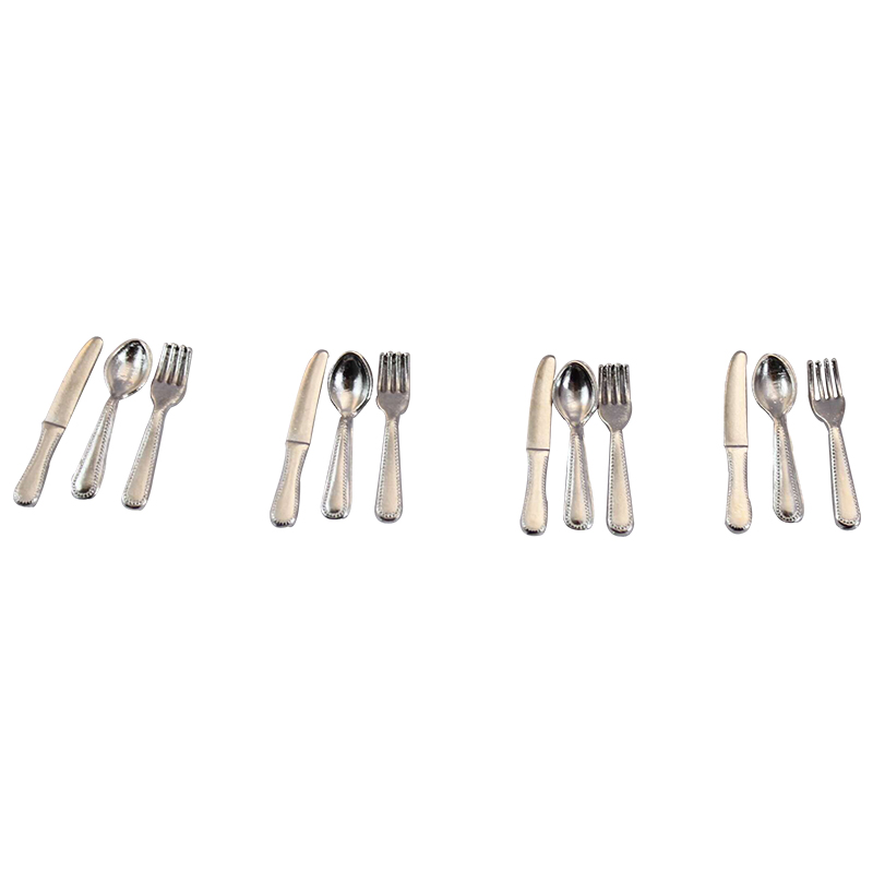 1:12 Scale Miniature cutlery metal knife mini dolls kitchen spoon fork tableware12 pieces dollhouse four pieces of stainless steel scale capsule coffee spoon