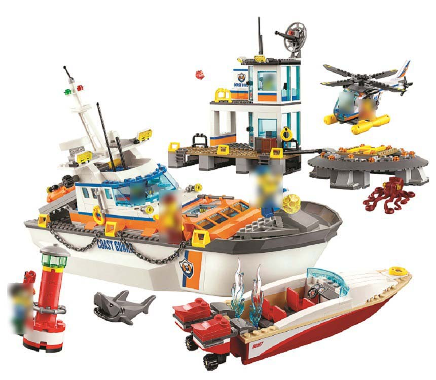 Legoing Coast Guard Headquarters 60167 844 Building Blcok set Brick compatible10755 Toys for children Gift legoing chaos warriors caves 70596 ninja series 1307 building blcok set brick compatible 10530 toys for children gift