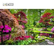 Laeacco фон природа зеленое дерево цветы озеро парк сад путь красивый вид фотографический фон фотосессия Фотостудия