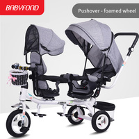 Brand baby twins stroller Multifunction tricycle baby reclining infant trolley 1 5 years old baby carriage